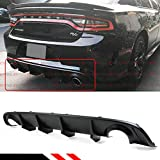 Fits for 2015-2019 Dodge Charger SRT STX Hellcat Scat R/T Re-Design New Shark Fin Rear Bumper Diffuser Valance