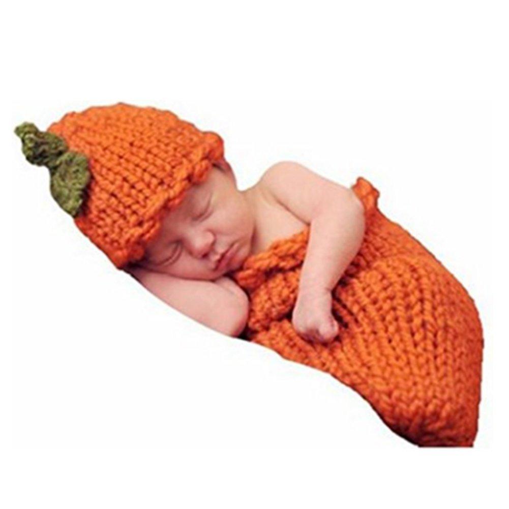 Newborn Baby Photo Props Boy Girl Photo Shoot Outfits Crochet Knit Halloween Pumpkins Hat Sleeping Bag Photography Props