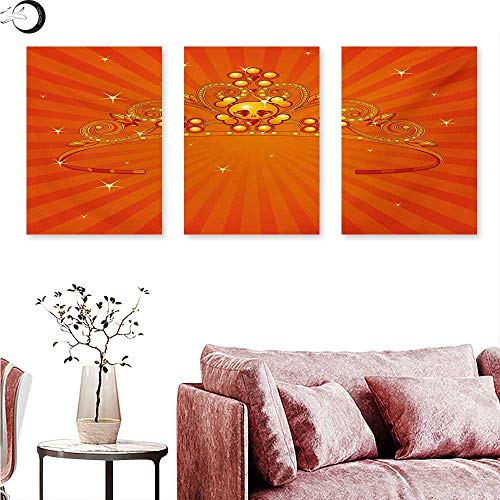 Anniutwo Queen Canvas Print Wall Art Fancy Halloween Princess Crown with Little Skull Daisies on Radial Orange Backdrop Stars Wall Painting Orange W 20