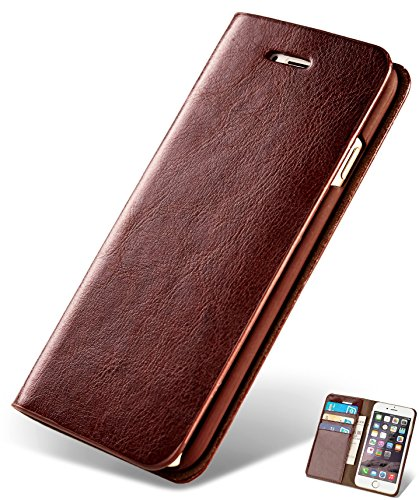SINIANL iPhone 6 6S 7 8 X Plus Samsung Galaxy S8 Note 8 Premium Leather Wallet Case Business Credit Card Holder Folio Flip Cover by SINIANL