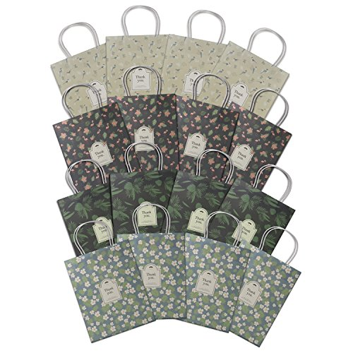 OceLander Gift Bags, Kraft Paper Gift Bags with Handles for Shopping, Birthday, Weddings and Holiday Presents Medium Size 10.5x8.25x4.3 inches. (Set of 16 Kraft Bags, 4 Designs) by OceLander (Image #1)