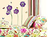 purple flower butterfly removable quote vinyl room wall decals stickers LD610