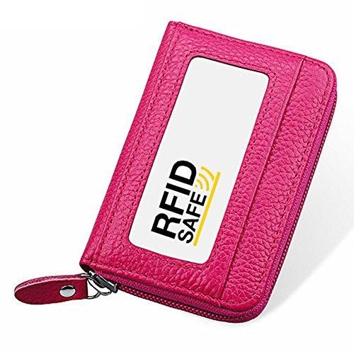 Hibate RFID Block Genuine Leather Credit Card Case Holders Women Travel Wallet - Pink