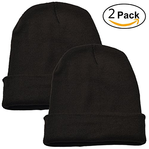 Woogwin Beanie Cap Winter Hats for Men Women Knitted Warm Hat Solid Color (Dark Armygreen)