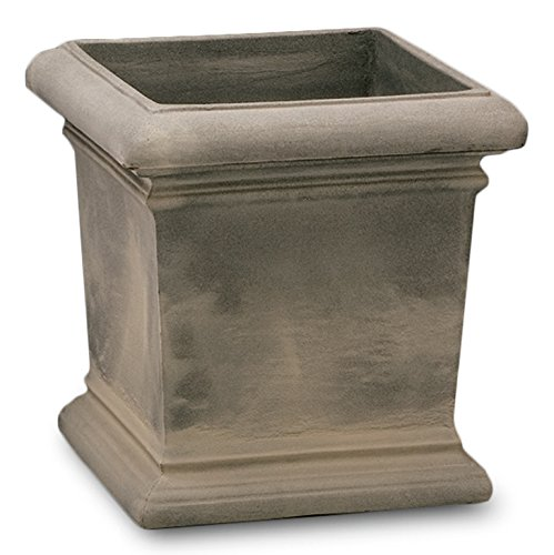 Crescent Garden Dorchester Square Planter, 18 by 18-Inch, Weathered Grey Stone