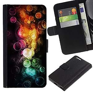 """A-type (Acuarelas"""") Colorida Impresión Funda Cuero Monedero Caja Bolsa Cubierta Caja Piel Card Slots Para Apple (5.5 inches!!!) iPhone 6+ Plus / 6S+ Plus"""