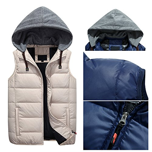 Windproof Winter Sleeveless Splicing Cap Vest amp; Beige Autumn Hooded Waterproof Down Zipper Outwear Mens Jacket BOZEVON Down Coat BxUqI5fwq