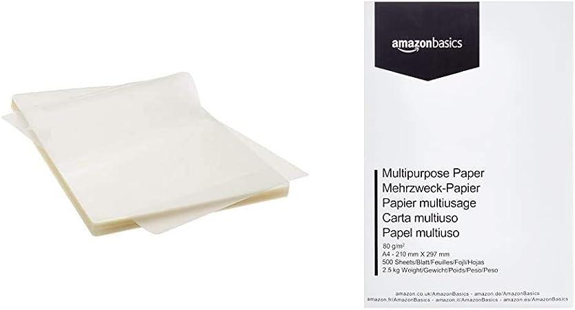 Amazon Basics - Láminas para plastificar (A4, 100 unidades) + ...