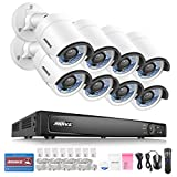 ANNKE 8 Channel Network NVR Security System, 6.0MP Surveillance NVR Recorder with 8 x IP HD Outdoor IP Camera, Motion Detection, NO HDD Review