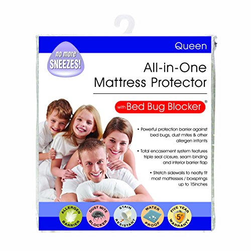Bed Bug Blocker Hypoallergenic All In One Breathable Queen Mattress Cover Encasement Protector Zippered Water Resistant Dust Mite Allergens Insects (Box Encasement Spring Sets And Mattress)