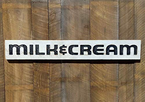 """Milk & Cream- Large farmhouse style sign-Carved in Wood Lumber 55""""x8"""" Vintage Look Made in USA"""