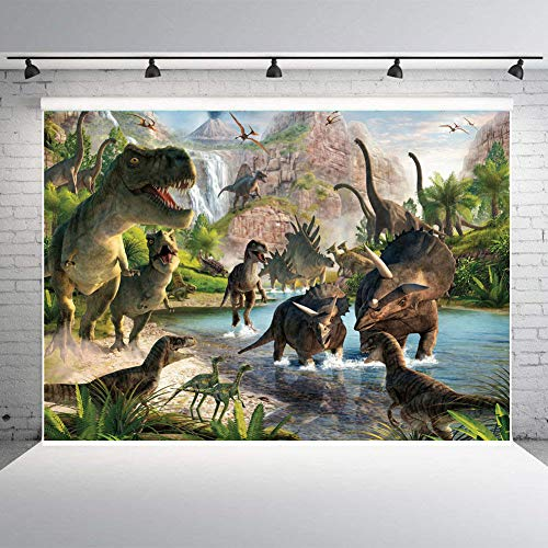 Qian Jurassic Park Photography Background 3D Dinosaur Photo Studio Props Booth Birthday Party Decoration Backdrops Vinyl 7x5ft