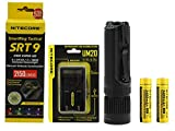 Bundle: Nitecore SmartRing Tactical SRT9 LED Flashlight Bundle with 18650 Battery & Charger - Red, Green, Blue & UV LEDs - 2150 Lumens