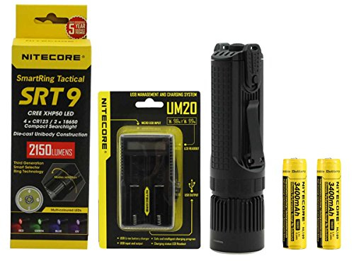 Bundle: Nitecore SmartRing Tactical SRT9 LED Flashlight Bundle with 18650 Battery & Charger - Red, Green, Blue & UV LEDs - 2150 Lumens by Nitecore