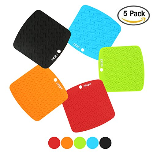 Silicone Trivet Mat, Pot Holder, Hot Pad, Spoon Rest with Multi-Purpose, 442°F Heat Resistant, Thick and Flexible - FDA Vacuum-Pack (Multi-color) by ORIMY