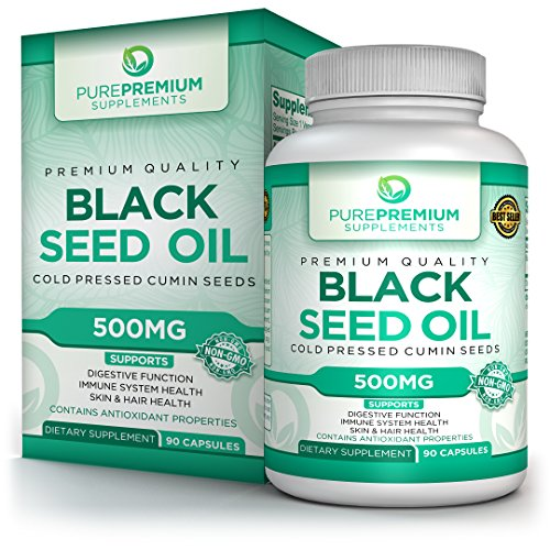 (Premium Black Seed Oil Capsules by PurePremium (Non-GMO & Vegetarian) Cold Pressed Nigella Sativa Supplement – Made in The USA – 90 Caps of Black Cumin Seed Oil)