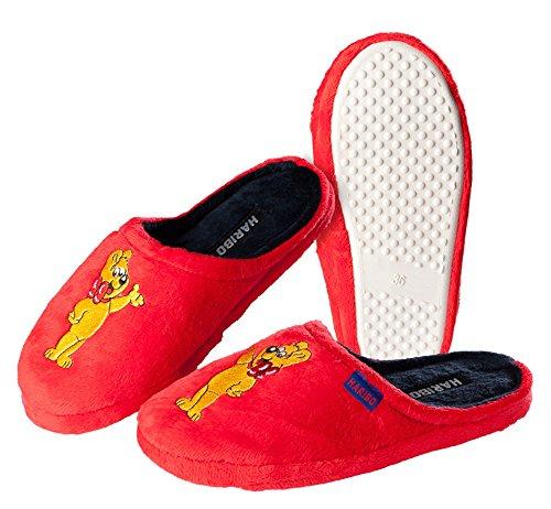 Pantoffeln Hausschuhe HARIBO rot Damen Mädchen Größe: 36 - 41 - Zapatillas de estar por casa de tela para mujer Rojo rojo
