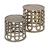 Deco 79 Aluminum Stool, 14 by 17-Inch, Set of 2