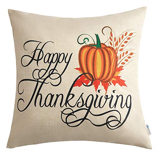 Anickal Thanksgiving Pillow Covers Decorative Pillow Covers with Pumkin Print 18 x 18 Inch for Thanksgiving Decorations]()