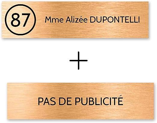vert fonc/é lettres blanches 3 lignes 100x25mm Plaque nom avec num/éro Plaque Stop Pub pour boite aux lettres format Decayeux