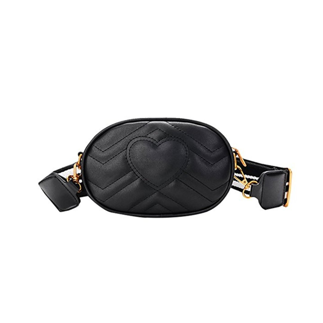 Olivia Elegant Leather Fanny Pack Embroidery Love Pattern PU Leather Waist Bag Bum Bag Travel Cell Phone Bag Pouch(Heart Black)