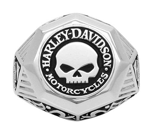 Harley-Davidson Mens Sculpted Willie G Skull Ring, Sterli...