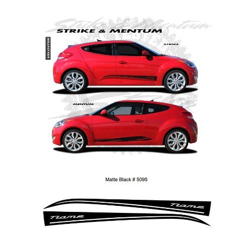 Hyundai Veloster Matte Black Body Side Stripes Graphic Kit