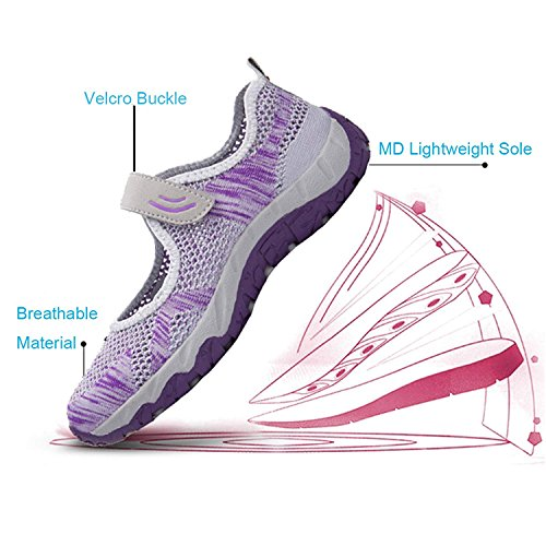 Purple Sports Casual Janes Gym Walking Shoes Mesh H Velcro Trainers Fitness Mastery Mary Jogging Lightweight Womens Sneaker Grey qBwwOT6g