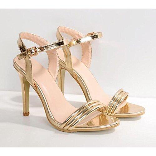 ZHZNVX Zapatos de Cuero Mujer Primavera Otoño Bomba Básica Comfort Sandalias Stiletto Talón for Casual Oro,Oro,US8/UE39/UK6/CN39