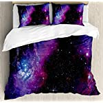 Ambesonne Space Duvet Cover Set, Nebula Dark Galaxy with Luminous Stars and Cosmic Rays Astronomy Explore Theme, Decorative 3 Piece Bedding Set with 2 Pillow Shams, King Size, Purple Blue