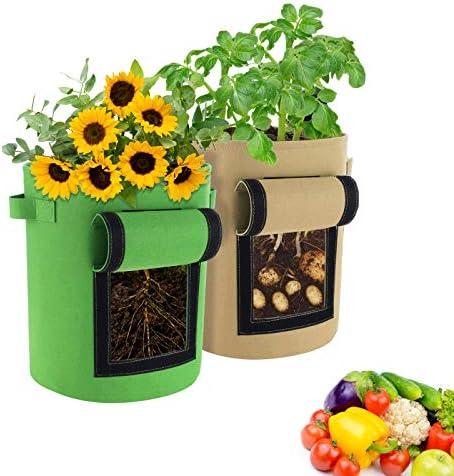 Joyue Plantenzak plantenzak aardappelzak van vilt plantenzak met kijkvenster en handgrepen herbruikbare plantenzakken voor aardappelen bloemen groenten kruiden 2 stuks 10 gallonen