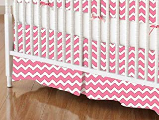 product image for SheetWorld 100% Cotton Percale Crib Skirt 28 x 52, Bubble Gum Pink Chevron Zigzag, Made in USA