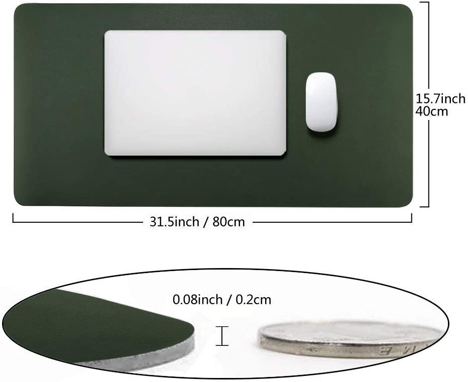 Desk Pad Protecter 31.5 x 15.7 Light Grey BUBM PU Leather Desk Mat Mouse Pad Blotters Organizer with Comfortable Writing Surface
