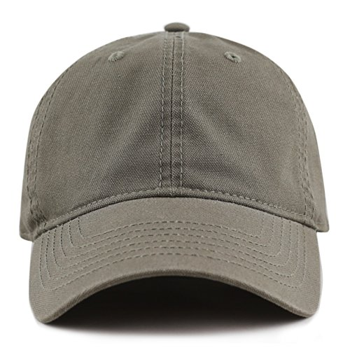 Green Low Profile Cap - THE HAT DEPOT 100% Cotton Canvas 6-Panel Low-Profile Adjustable Dad Baseball Cap (Olive)