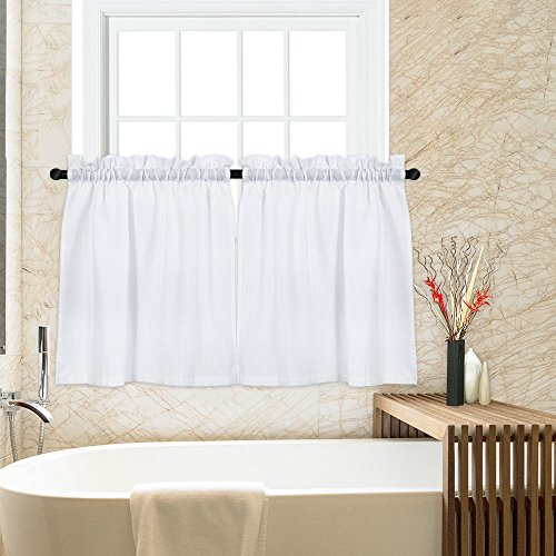 (Tier Curtains for Kitchen, Waffle Woven Textured Short Window Tier Curtains for Bathroom Rod Pocket Kitchen Cafe Curtains, 30W x 24L Inch, White, 1 Pair)