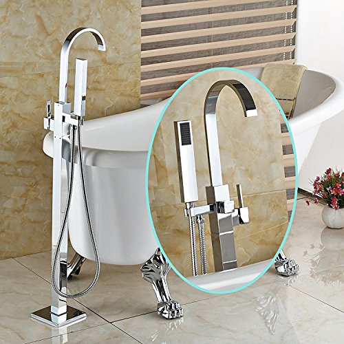 Senlesen Bathroom Tub Faucet Single Handle Floor Mounted Mixer Tap with Hand Shower Chrome Finish