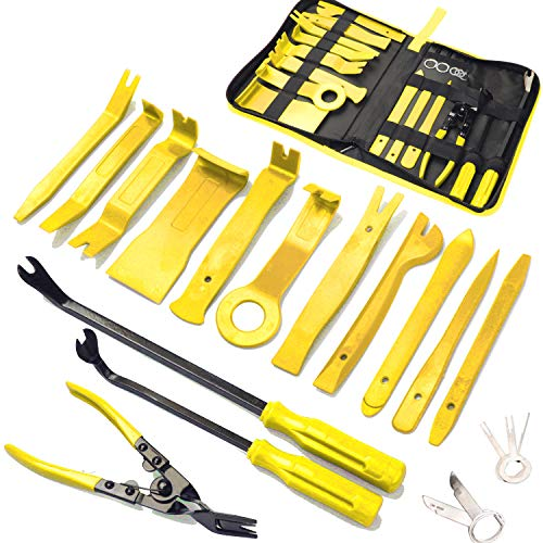 19Pcs Trim Removal Tool,Car Panel Door Audio Trim Removal Tool Kit, Auto Clip Pliers Fastener Remover Pry Tool Set with Storage Bag (Yellow)