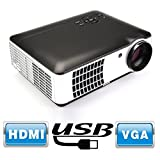 Flylinktech RD-806A 2800 Lumens Movie Projector Video Led Projector,1080P HD for Home Theater Cinema Projector Small Business Presentation Game TV Movie (Black)