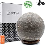 Hazantree Lunaris Gray Himalayan Salt Lamp- Made in Pakistan- Grey Salt Rock Lamp on a Rosewood Base with Dimmer Cord