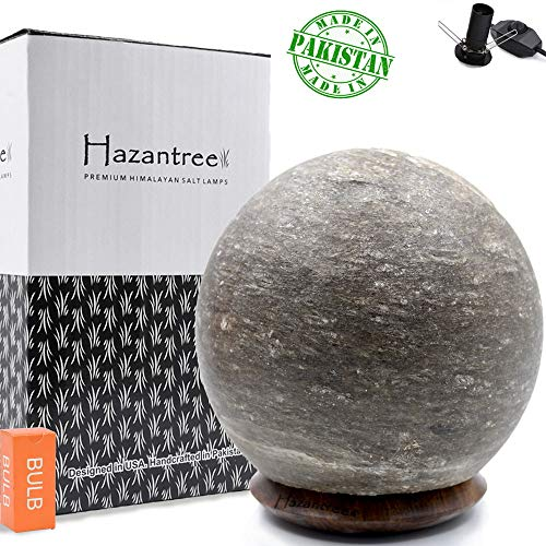 Hazantree Lunaris Gray Himalayan Salt Lamp- Made in Pakistan- Grey Salt Rock Lamp on a Rosewood Base with Dimmer Cord