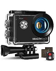 Dragon Touch Action Cam 4K 20MP EIS onderwatercamera 30M waterdicht WiFi actiecamera met 2.4G afstandsbediening 170° groothoek, 4X zoom, 2 batterijen en accessoireset.