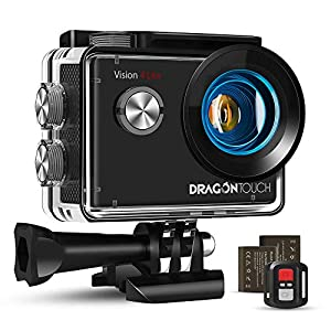 Dragon Touch 4K Action Camera, 20MP EIS Anti-shake Support External Microphone Underwater 100ft Waterproof Camera with Mounting Accessories Kit – Vision 4 Lite