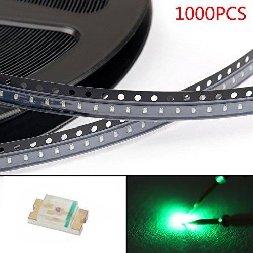Areyourshop 1000Pcs 0603 (1608) Green Light SMD SMT LED Diodes Emitting Super Bright New