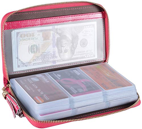 Yuhan Pretty Womens Credit Card Holder Wallet RFID Leather Small ID Card Case (60 Card Slots - Rose)