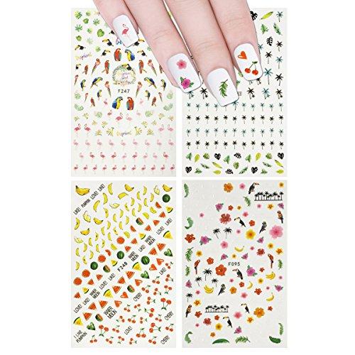 (allydrew Art Set 4 Sheets Tropical Paradise Flamingos Nail Stickers)