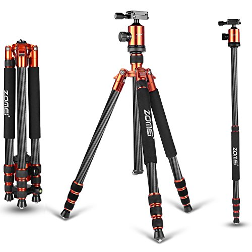 Zomei Z888C Ball Head Compact and Carbon Fiber Tripod for Camera - Orange by ZOMEI