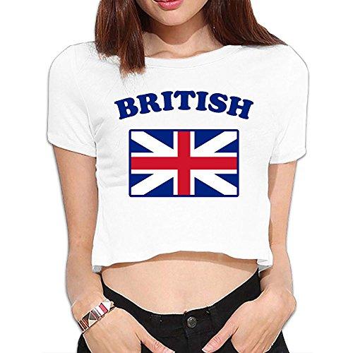 Jack Wear Union (DKKGT05 British Flag Womens Summer Short Sleeve Crop Tops Base Shirt)
