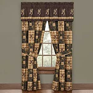 Browning Country Window Valance / Drape Set - Rustic Cabin Lodge Hunting Wildlife