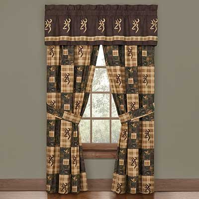 Drapes Pocket Lodge Rod (Browning Country Window Valance / Drape Set - Rustic Cabin Lodge Hunting Wildlife)