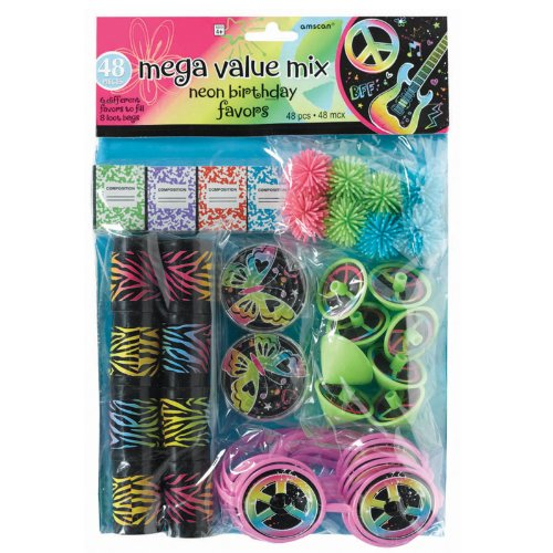 (Amscan Groovy Neon Doodle Birthday Party Favor Value Pack (48 Pack), 12 1/4